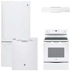 GE® 4-pc. Electric Kitchen Package- White