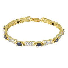 Sparkle Allure Womens Genuine Sapphire Tennis Bracelet