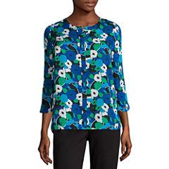 Liz Claiborne 3/4 Sleeve Y Neck Woven Blouse-Talls