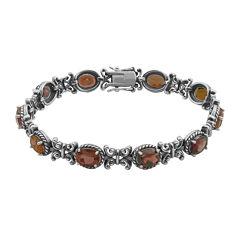 Genuine Garnet Oxidized Sterling Silver Tennis Bracelet