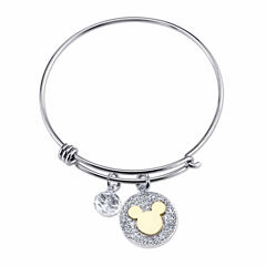Disney Womens Silver Over Brass Bangle Bracelet