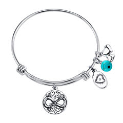 Footnotes Womens Simulated Turquoise Silver Over Brass Bangle Bracelet