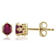 Oval Red Lead Glass-Filled Ruby Stud Earrings in Gold Over Silver