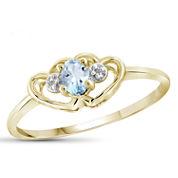 Womens Diamond Accent Blue Aquamarine Gold Over Silver Delicate Ring