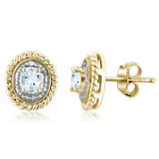 Diamond Accent Oval Blue Aquamarine Gold Over Silver Stud Earrings