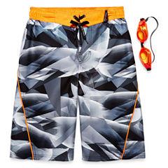 Zeroxposur Boys Geometry Camo Swim Trunks-Big Kid
