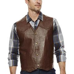Snap-Front Leather Vest