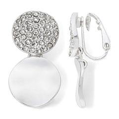 Liz Claiborne® Crystal Silver-Tone Clip-On Earrings
