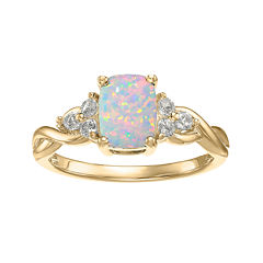 Lab-Created Opal and Genuine White Topaz 10K Yellow Gold Cushion-Cut Twist Ring