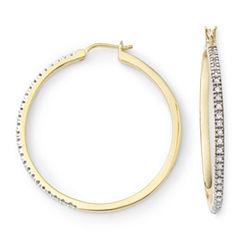 1/4 CT. T.W. Diamond 14K Gold-Plated Hoop Earrings
