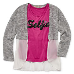 Speechless Long Sleeve Layered Top - Preschool Girls