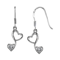 Love Grows™ Sterling Silver 1/10 CT. T.W. Diamond Double-Heart Drop Earrings