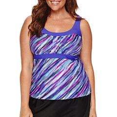 Zeroxposur Solid Tankini Swimsuit Top-Plus