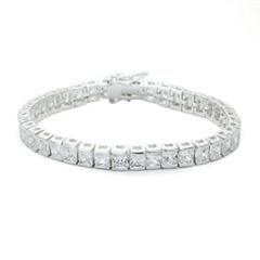 Sparkle Allure Clear Cubic Zirconia Square Stone Silver Adjustable