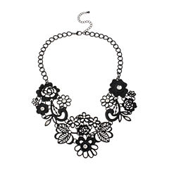 Mixit™ Black Lace Flower Statement Necklace