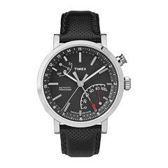 Timex® Metropolitan Black Dial Leather Strap Mens Watch TW2P81700ZA