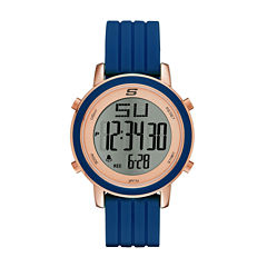 Skechers® Womens Blue Silicone Strap Digital Chronograph Watch