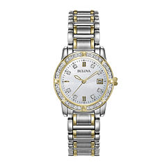 Bulova® Womens Diamond-Accent Mother-of-Pearl Watch 98R107