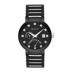 Bulova® Mens Black Diamond-Accent Watch 98D109