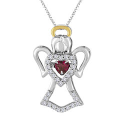 Love in Motion™ Lab-Created Ruby and Lab-Created White Sapphire Angel Pendant Necklace