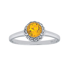 Faceted Genuine Citrine & White Topaz Sterling Silver Ring