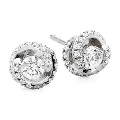 1/2 CT. T.W. Diamond Spiral 10K White Gold Stud Earrings
