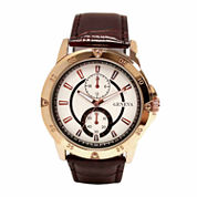 Geneva Mens Brown and Rose-Tone Watch
