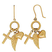 Infinite Gold 14K Yellow Gold Inspirational Charms Drop Earrings