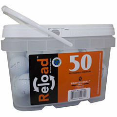 50 pack Taylormade Lethal Refinished Golf Balls in a reusable plastic bucket with handle.