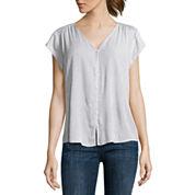 Short sleeve white tops for women jcpenney for Liz claiborne v neck t shirts