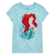 Disney Girls Little Mermaid Sparkle Graphic T-Shirt - Big Kid
