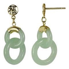 14K Yellow Gold Jade Double Circle Earrings