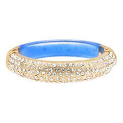 10021 | Kara Ross Pavé Crystal & Blue Resin Cuffed Bracelet