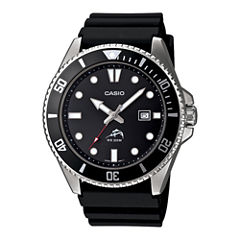 Casio® Mens Black Resin Strap Watch MDV106-1A