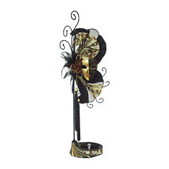 Mardi Gras Mask Black, Gold & Brown Jewelry Stand Organizer