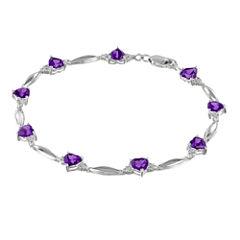 Genuine Amethyst Heart-Shaped Sterling Silver Bracelet