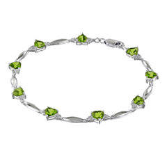 Genuine Peridot Heart-Shaped Sterling Silver Bracelet