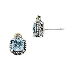 Shey Couture Genuine Swiss Blue Topaz and Diamond-Accent Earrings