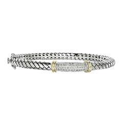 Shey Couture 1/5 CT. T. W. Diamond Sterling Silver Bangle Bracelet