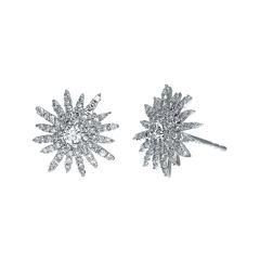 3/4 CT. T.W. Diamond 14K White Gold Starburst Stud Earrings