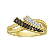 1/10 CT. T.W. White and Champagne Diamond Double-Row Ring