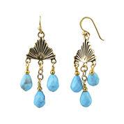 Art Smith by BARSE Blue Howlite Brass Chandelier Earrings