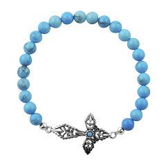 Art Smith by BARSE Blue Howlite Silver Over Brass Cross Stretch Bracelet