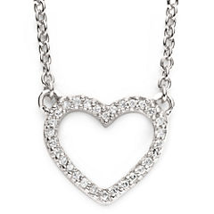 1/10 Ct. T.W. Diamond Sterling Silver Mini Heart Pendant Necklace