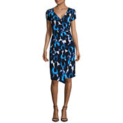 London Times Short Sleeve Faux-Wrap Fit and Flare Dress
