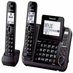 Panasonic KX-TG9542B Link2Cell DECT 6.0 2-Line Cordless Phone w/ 2 Handsets & Answering Machine - Black