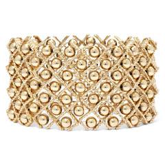 Gold-Tone Bead Stretch Bracelet