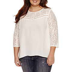 Decree Lace Yoke Swing Top-Juniors Plus