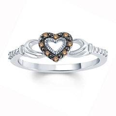 Womens Diamond Accent Champagne Diamond Accent Sterling Silver Side Stone Ring