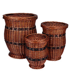 Household Essentials® 3-pc. Wicker Urn Table Set